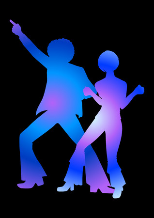 seventies: Silhouette Illustration of couples dancing in 70s style