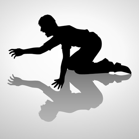 Silhouette illustration of a man crawling Ilustracja