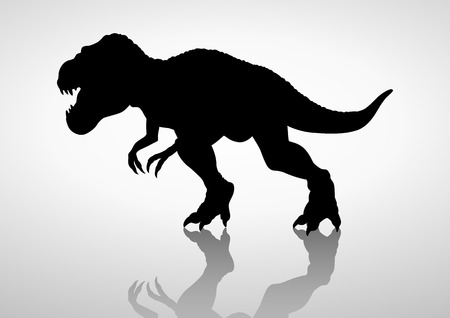 enormous: Silhouette illustration of a tyrannosaurus rex