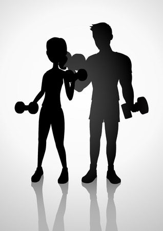 lifting weights: Silhouette illustration of a man and woman exercising with dumbbells