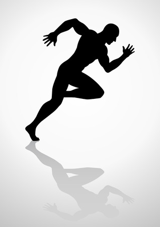 winner man: Silhouette illustration of a muscular male figure off to a fast start