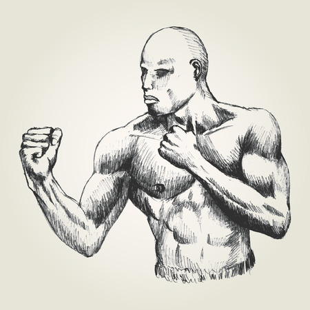 stance: Sketch illustration of a man with ready to fight stance