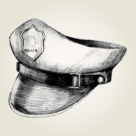 gorra policía: Ilustración Esquema de una gorra de policía
