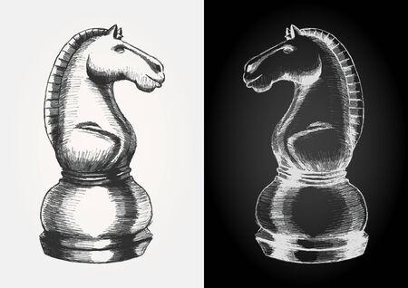 chess knight: Illustrazione Schizzo di un pezzo degli scacchi cavaliere