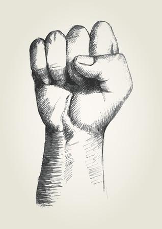 右の拳のスケッチ図