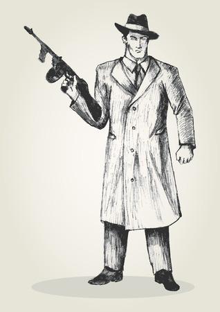 Sketch illustration of a man holding a gun Vector