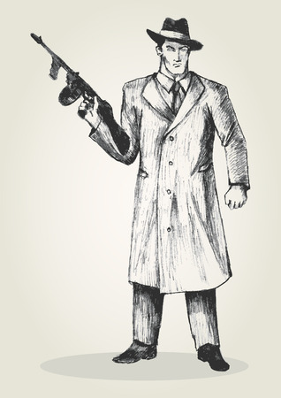 gang member: Sketch illustration of a man holding a gun