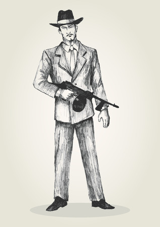 gang member: Sketch illustration of a man holding a thompson gun