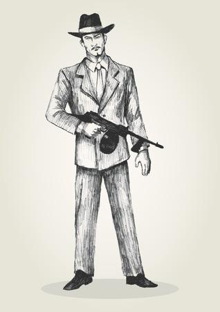 Sketch illustration of a man holding a thompson gun