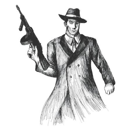 sicario: Ilustraci�n Boceto de un hombre con un arma thompson