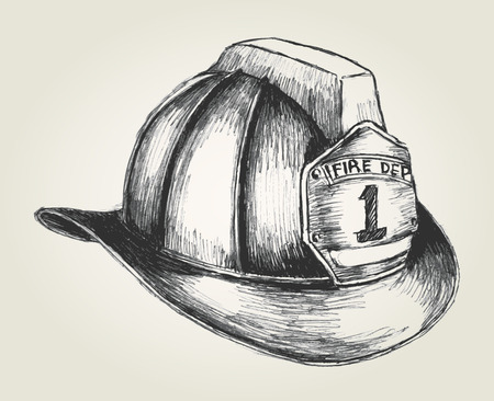 helmet: Sketch illustration of a firefighter helmet Illustration