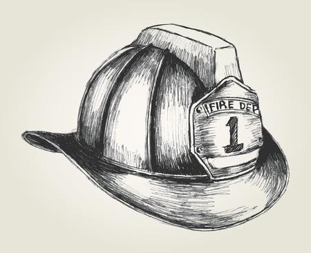 pracoviště: Sketch ilustrace hasič přilby