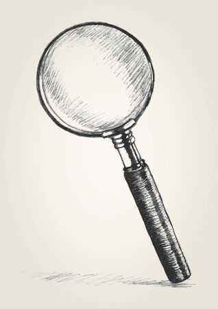 low glass: Sketch illustration of a magnifying glass Illustration