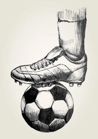 Sketch illustration of a soccer player s foot on soccer ball Vector