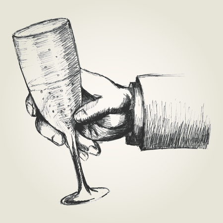 cheers: Sketch illustration of a hand holding a glass of champagne