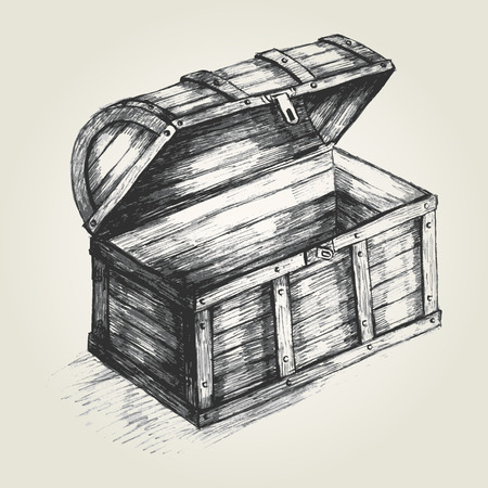 ilustracion: Ilustraci�n Boceto de un cofre del tesoro