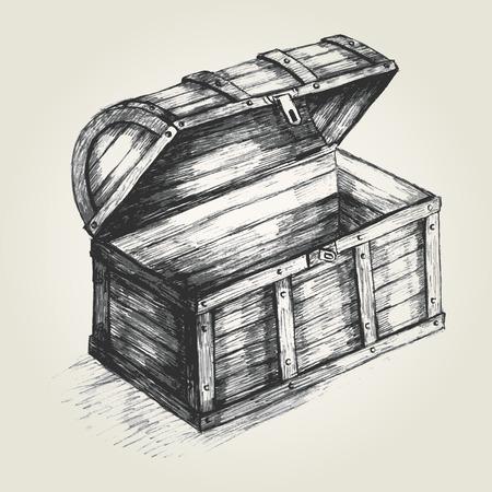 treasure box: Sketch illustration of a treasure chest