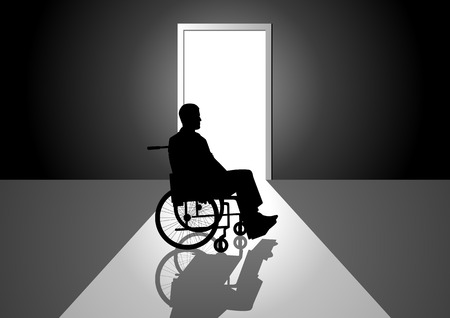 wheelchair: Silhouette illustration of a person on a wheelchair