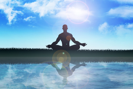 Silhouette of a man figure meditating in the outdoors photo