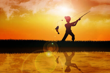 angling: Silhouette illustration of a boy fishing in sunset