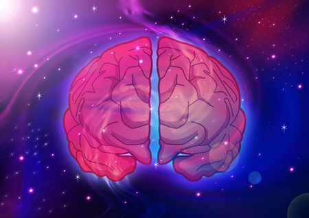 Illustration of human brain on cosmic background illustration