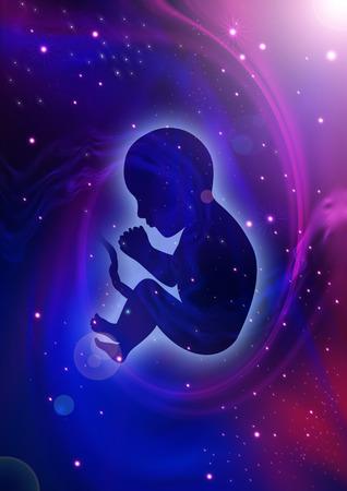 Silhouette illustration de foetus humain sur fond cosmique