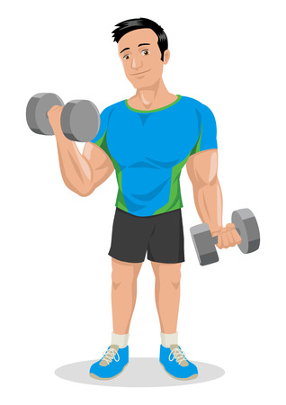 Cartoon illustration of a muscular male figure exercising with dumbbells Illustration