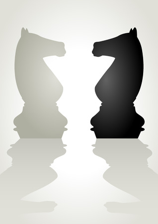 facing: Illustration of a chess pieces, white knight facing black knight