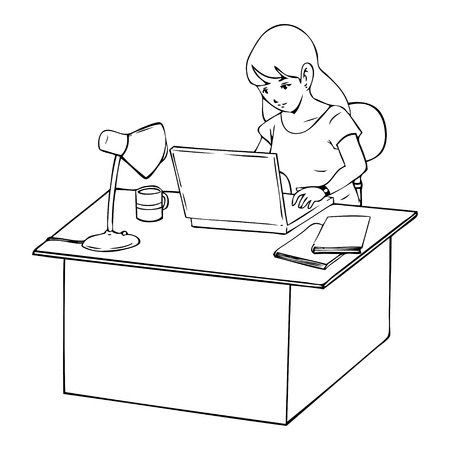 using computer: Line-art illustration of a woman working on laptop computer