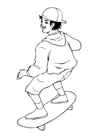 boy skater: Line-art illustration of a boy playing skateboard