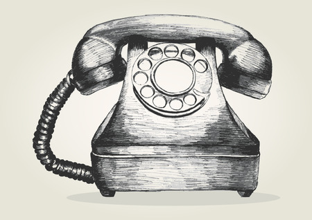 Sketch illustration of a vintage telephone Vectores
