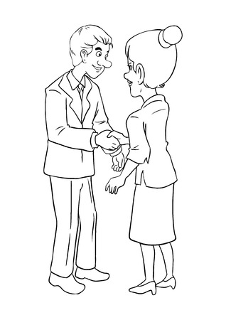 acquisition: Cartoon illustration of a businessman and businesswoman shaking hands Illustration