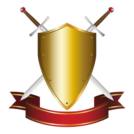 Illustration of a shield and swords emblem Vector