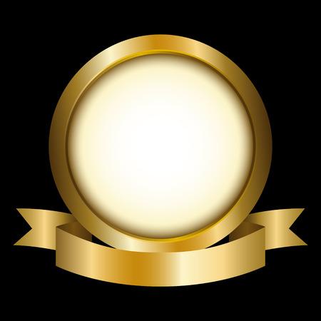 Illustration of a gold circle with ribbon emblem