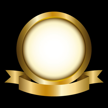 gold design: Illustration of a gold circle with ribbon emblem