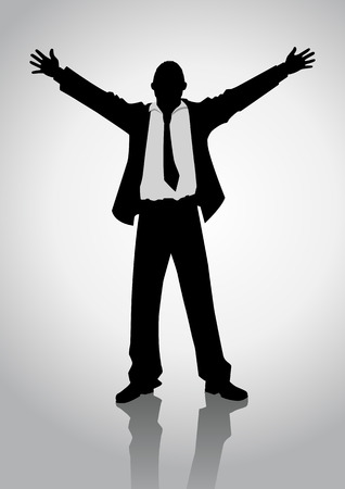 praise and worship: Silhouette illustration of a businessman standing with open arms