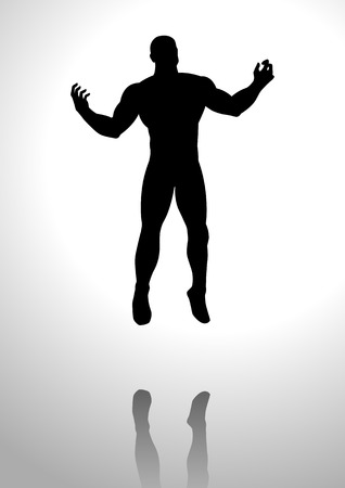 Silhouette illustration of a man with open arms, looking up to the sky