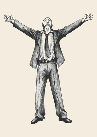 praise and worship: Sketch illustration of a businessman standing with open arms