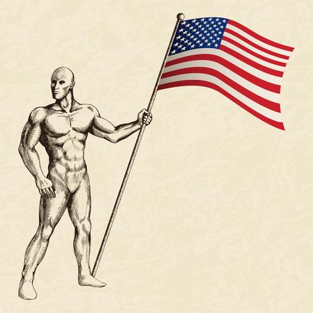 Sketch illustration of a flag bearer Vector