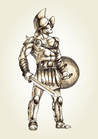 cascos romanos: Ilustración Boceto de un gladiador Vectores