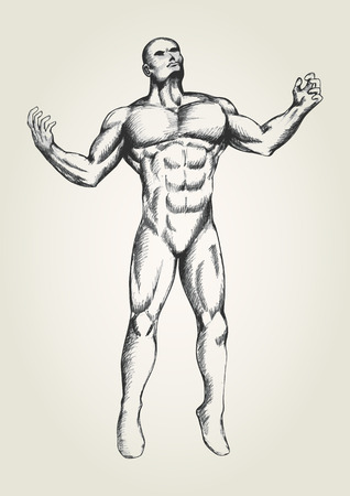 man looking at sky: Sketch illustration of muscular man with open arms, looking up to the sky Illustration