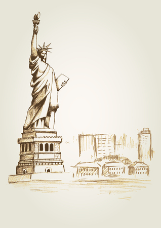 liberty: Sketch illustration of the statue of Liberty in New York City Illustration