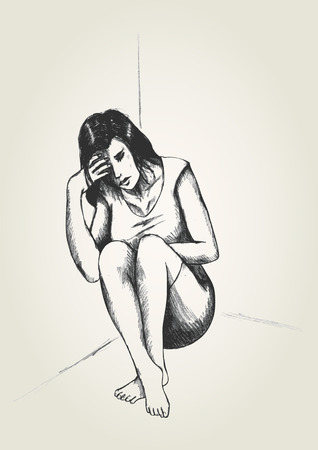 vulnerable: Sketch illustration of a frustrated woman in a corner