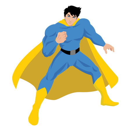 muscly: Illustration of a male figure in superhero costume Illustration