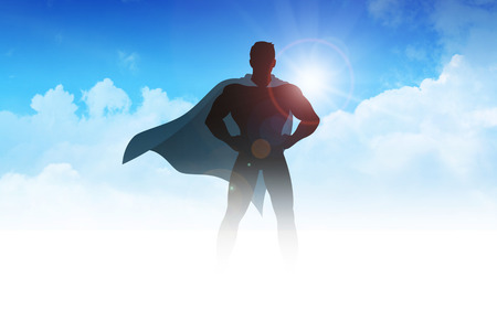 Silhouette illustration of a superhero on clouds