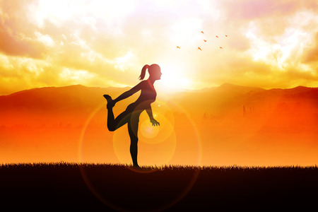 Silhouette illustration of a woman stretching her leg during sunrise