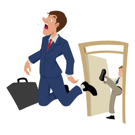 being: Cartoon illustration of a businessman being kicked out Illustration