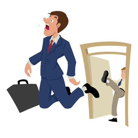 Cartoon Illustration von einem Geschäftsmann rausgeschmissen