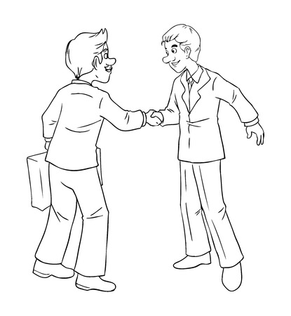 Cartoon illustration of a businessmen shaking hands Vector