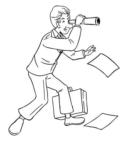 Cartoon of businessman using a telescope Vector